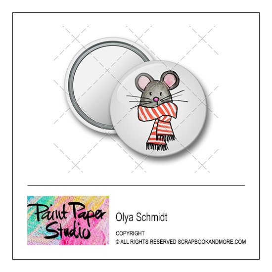 Scrapbook and More 1.25 inch Round Flair Badge Button Christmas Mouse by Olya Schmidt