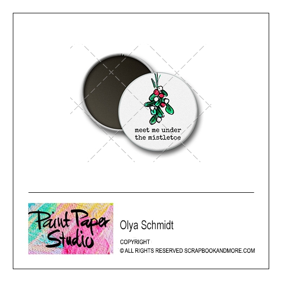Scrapbook and More 1.25 inch Round Flair Badge Button Christmas Meet Me Under The Mistletoe by Olya Schmidt
