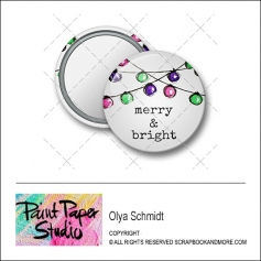 Scrapbook and More 1.25 inch Round Flair Badge Button Christmas Merry and Bright by Olya Schmidt
