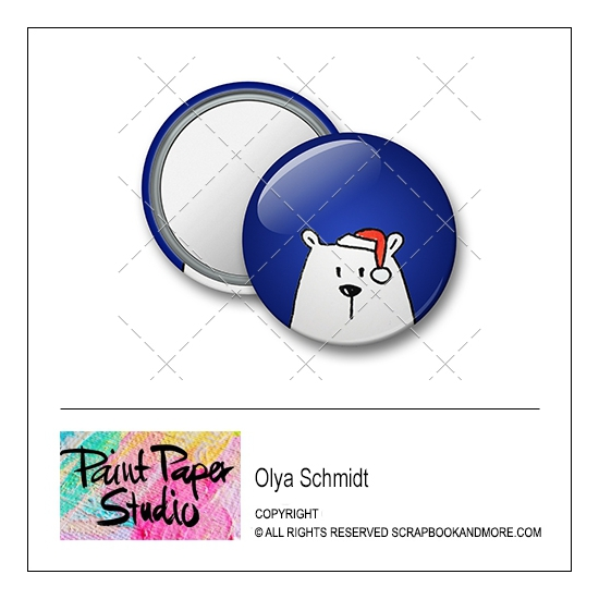 Scrapbook and More 1.25 inch Round Flair Badge Button Christmas Bear by Olya Schmidt