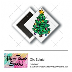 Scrapbook and More 1 inch Diamond Flair Badge Button Christmas Tree by Olya Schmidt