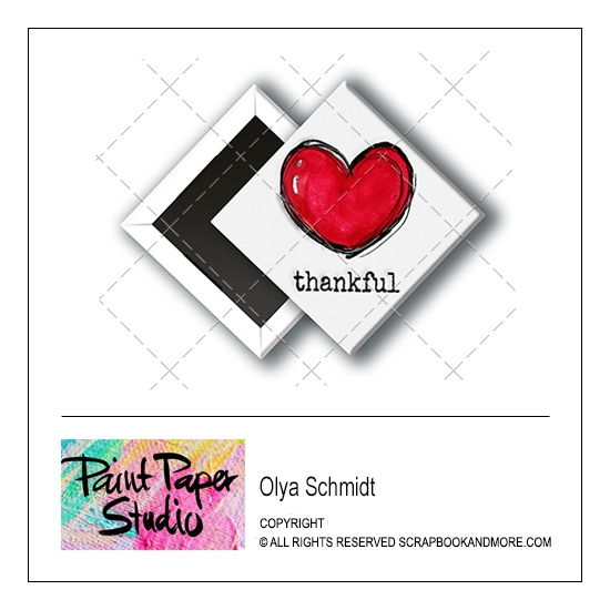 Scrapbook and More 1 inch Diamond Flair Badge Button Thankful by Olya Schmidt