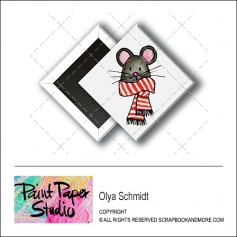 Scrapbook and More 1 inch Diamond Flair Badge Button Christmas Mouse by Olya Schmidt