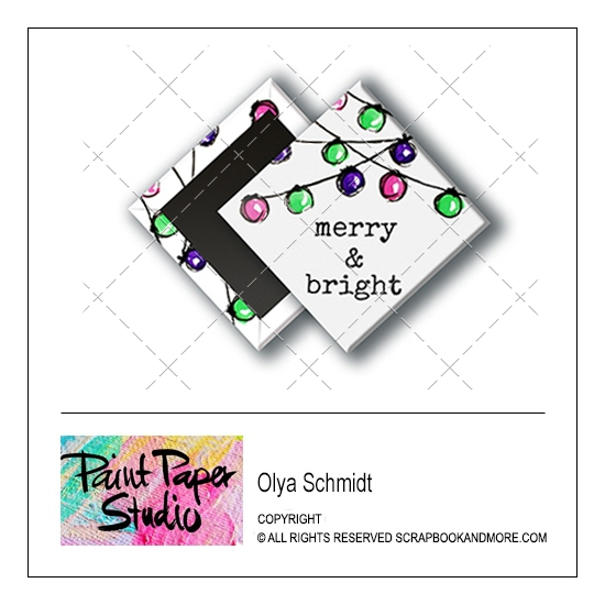 Scrapbook and More 1 inch Diamond Flair Badge Button Christmas Merry and Bright by Olya Schmidt