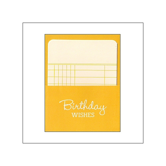 Pebbles Library Pocket and Card Birthday Wishes Yellow Basics Collection