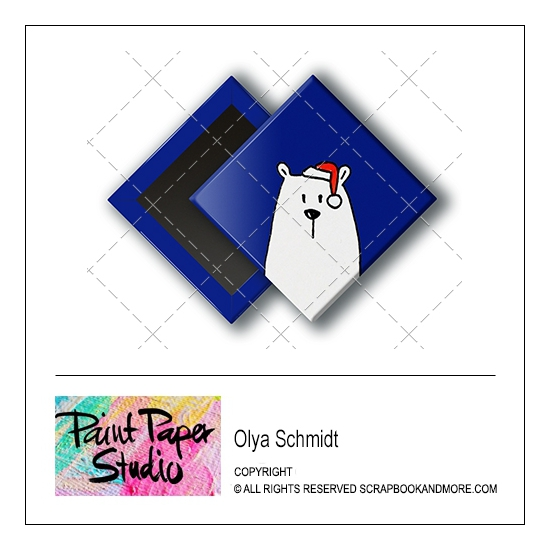 Scrapbook and More 1 inch Diamond Flair Badge Button Christmas Bear by Olya Schmidt