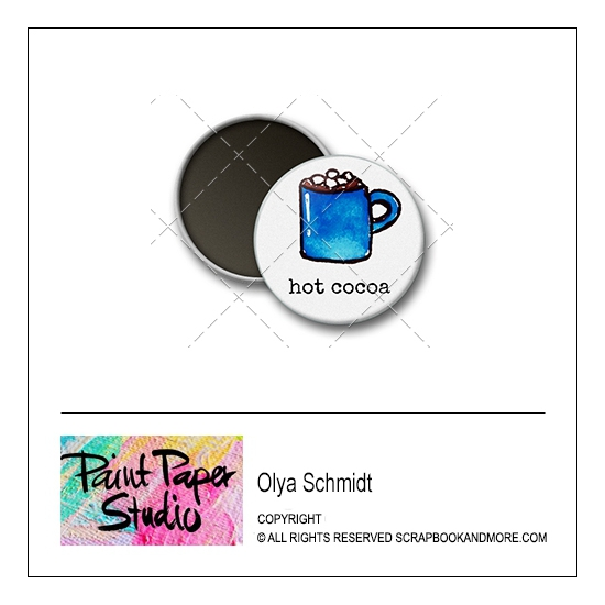 Scrapbook and More 1 inch Round Flair Badge Button Christmas Hot Cocoa by Olya Schmidt