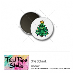 Scrapbook and More 1 inch Round Flair Badge Button Christmas Tree by Olya Schmidt