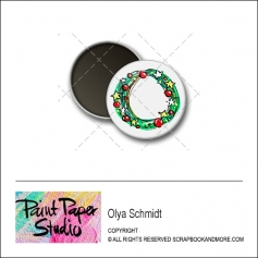 Scrapbook and More 1 inch Round Flair Badge Button Christmas Wreath by Olya Schmidt
