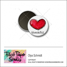 Scrapbook and More 1 inch Round Flair Badge Button Thankful by Olya Schmidt