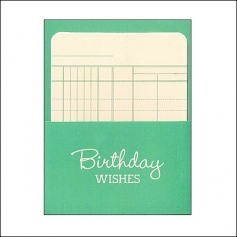 Pebbles Library Pocket and Card Birthday Wishes Green Basics Collection
