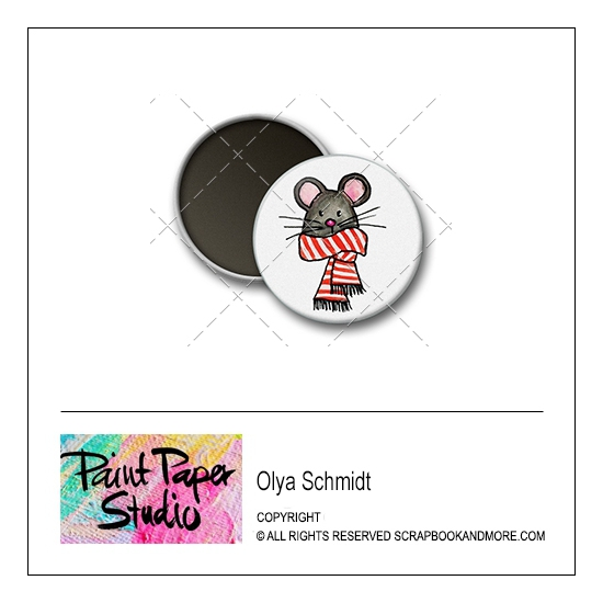 Scrapbook and More 1 inch Round Flair Badge Button Christmas Mouse by Olya Schmidt