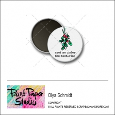 Scrapbook and More 1 inch Round Flair Badge Button Christmas Meet Me Under The Mistletoe by Olya Schmidt