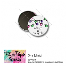 Scrapbook and More 1 inch Round Flair Badge Button Christmas Merry and Bright by Olya Schmidt