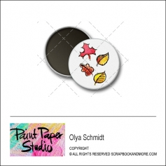 Scrapbook and More 1 inch Round Flair Badge Button Leaves by Olya Schmidt
