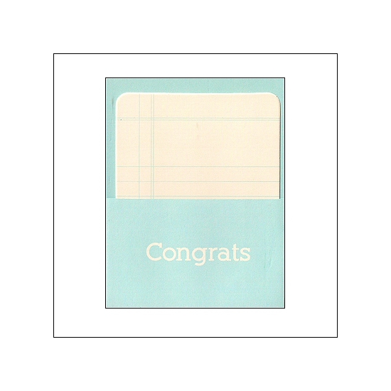 Pebbles Library Pocket and Card Congrats Blue Basics Collection
