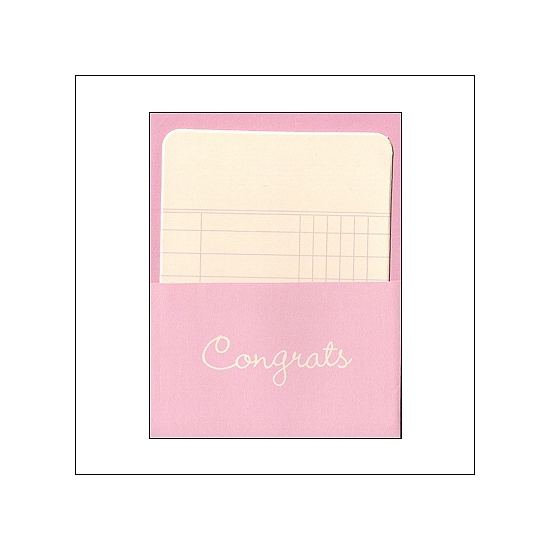 Pebbles Library Pocket and Card Congrats Pink Basics Collection