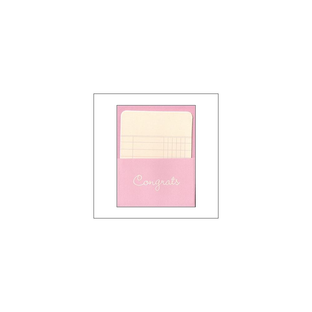 Pebbles Library Pocket and Card Congrats Pink Basics Collection