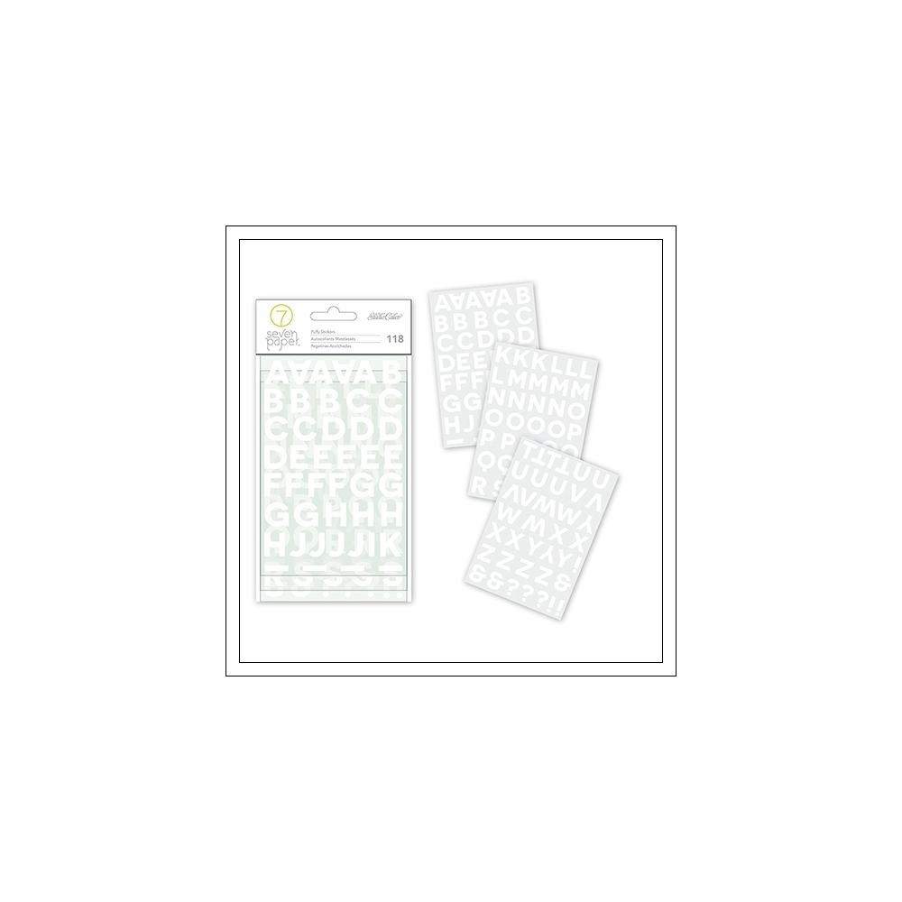 Studio Calico Puffy Alphabet Stickers White Seven Paper Clara Collection