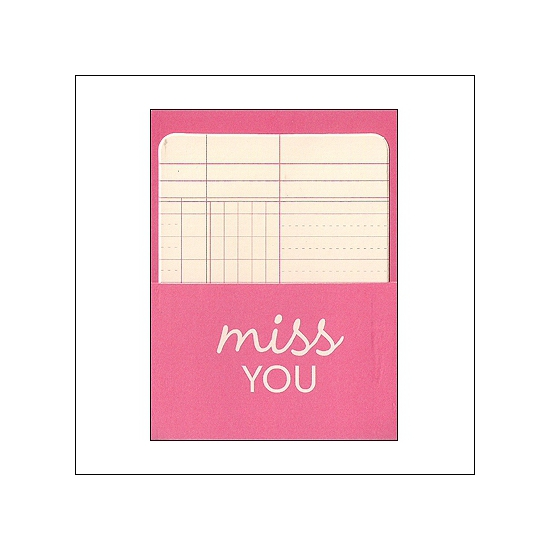 Pebbles Library Pocket and Card Miss You Basics Collection