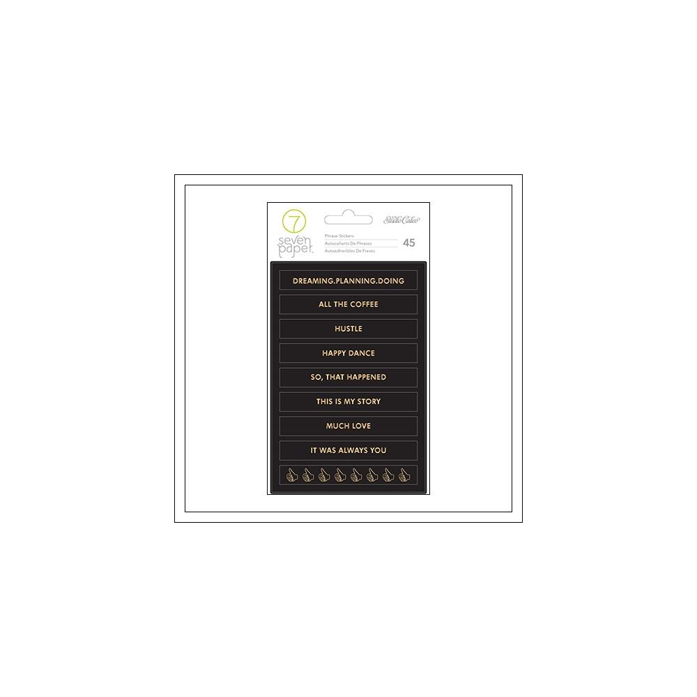 Studio Calico Gold Foil Black Phrase Stickers Seven Paper Goldie Collection