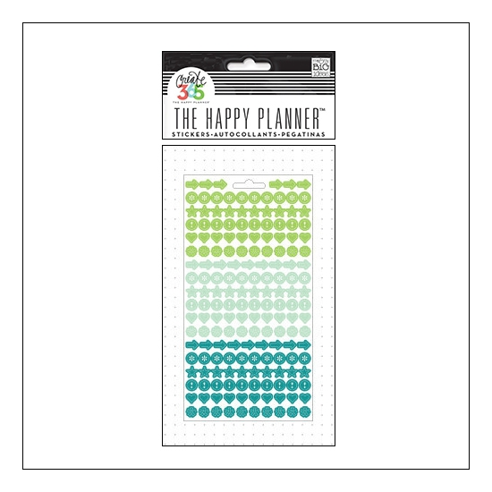 Me and My Big Sticker Sheet Green, Aqua and Teal Colorful Dots The Happy Planner Collection