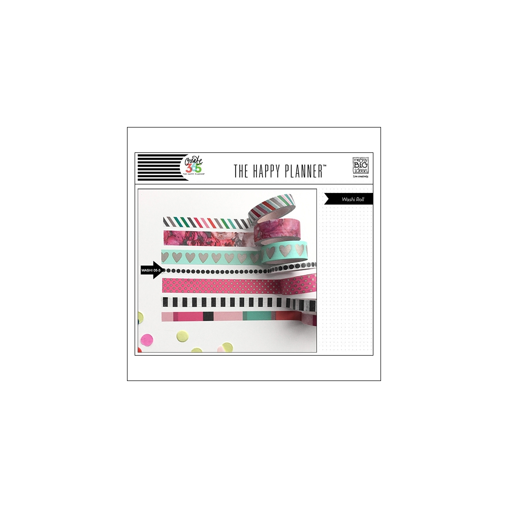Me and My Big Washi Tape Roll White Black Dots Peony The Happy Planner Collection