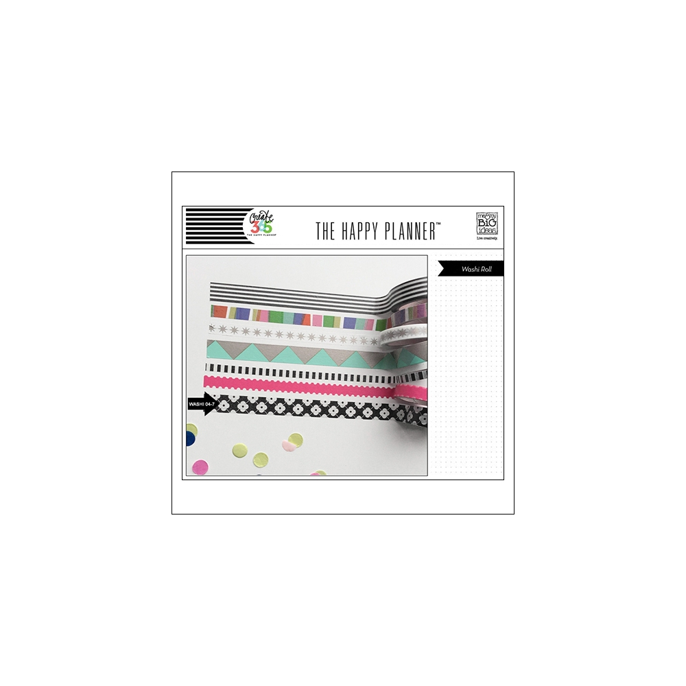 Me and My Big Washi Tape Roll Black and White Flowers My Life The Happy Planner Collection