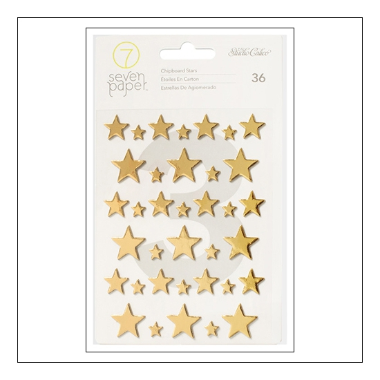 Studio Calico Chipboard Gold Foil Stars Seven Paper Felix Collection