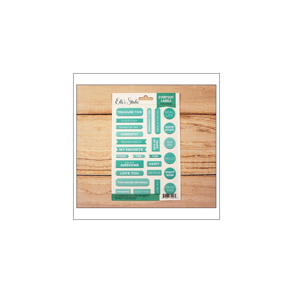 Elles Studio Everyday Labels Teal Puffy Stickers