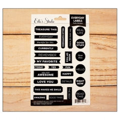 Elles Studio Everyday Labels Black Puffy Stickers