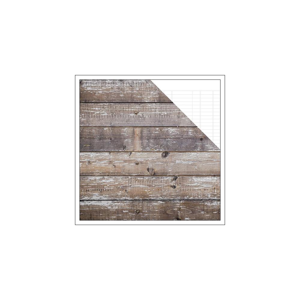 Simple Stories Basics Paper Sheet Cedar White Ledger Snap Basics Collection