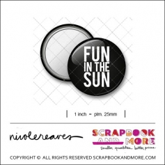 Scrapbook and More 1 inch Round Flair Badge Button Black Fun In The Sun by Nicole Reaves