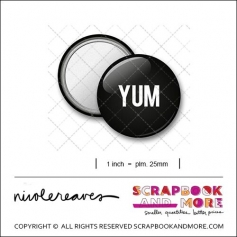 Scrapbook and More 1 inch Round Flair Badge Button Black Yum by Nicole Reaves