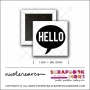 Scrapbook and More 1 inch Square Flair Badge Button White Black Hello Speech Bubble by Nicole Reaves