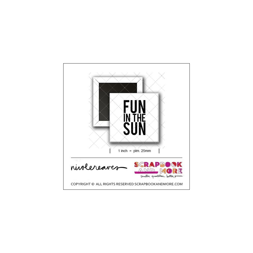 Scrapbook and More 1 inch Square Flair Badge Button White Fun In The Sun by Nicole Reaves