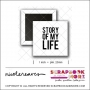 Scrapbook and More 1 inch Square Flair Badge Button White Story Of My Life by Nicole Reaves