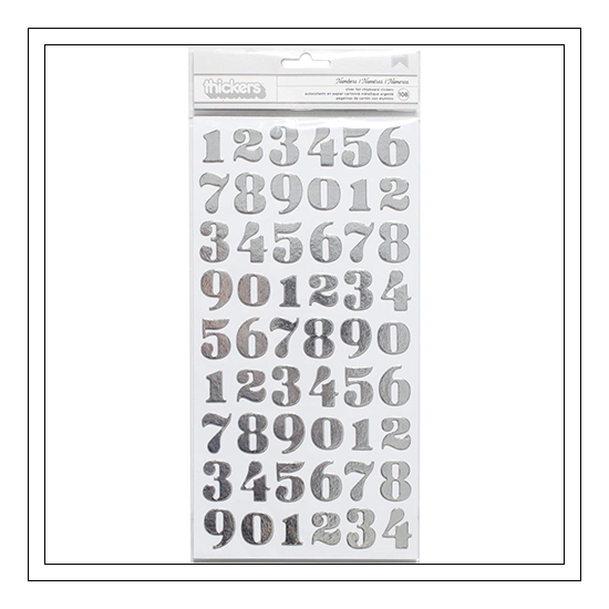 American Crafts Thicker Stickers Silver Foil Chipboard Numbers DIY Shop 3 Collection
