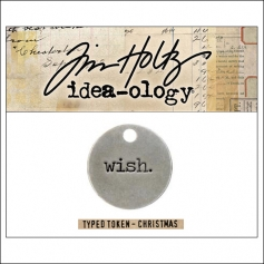 Idea-ology Christmas Metal Typed Token WISH by Tim Holtz