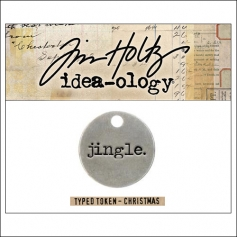 Idea-ology Christmas Metal Typed Token JINGLE by Tim Holtz