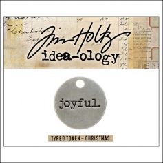 Idea-ology Christmas Metal Typed Token JOYFUL by Tim Holtz