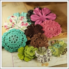 Prima Marketing Fabric and Mulberry Paper Flowers Madeline Love Note Collection