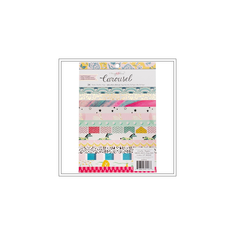 Crate Paper 6 x 8 inch Paper Pad with Gold Foil Carousel Collection by Maggie Holmes