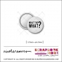 Scrapbook and More 0.75 inch Round Flair Badge Button White Black Hello Speech Bubble by Nicole Reaves