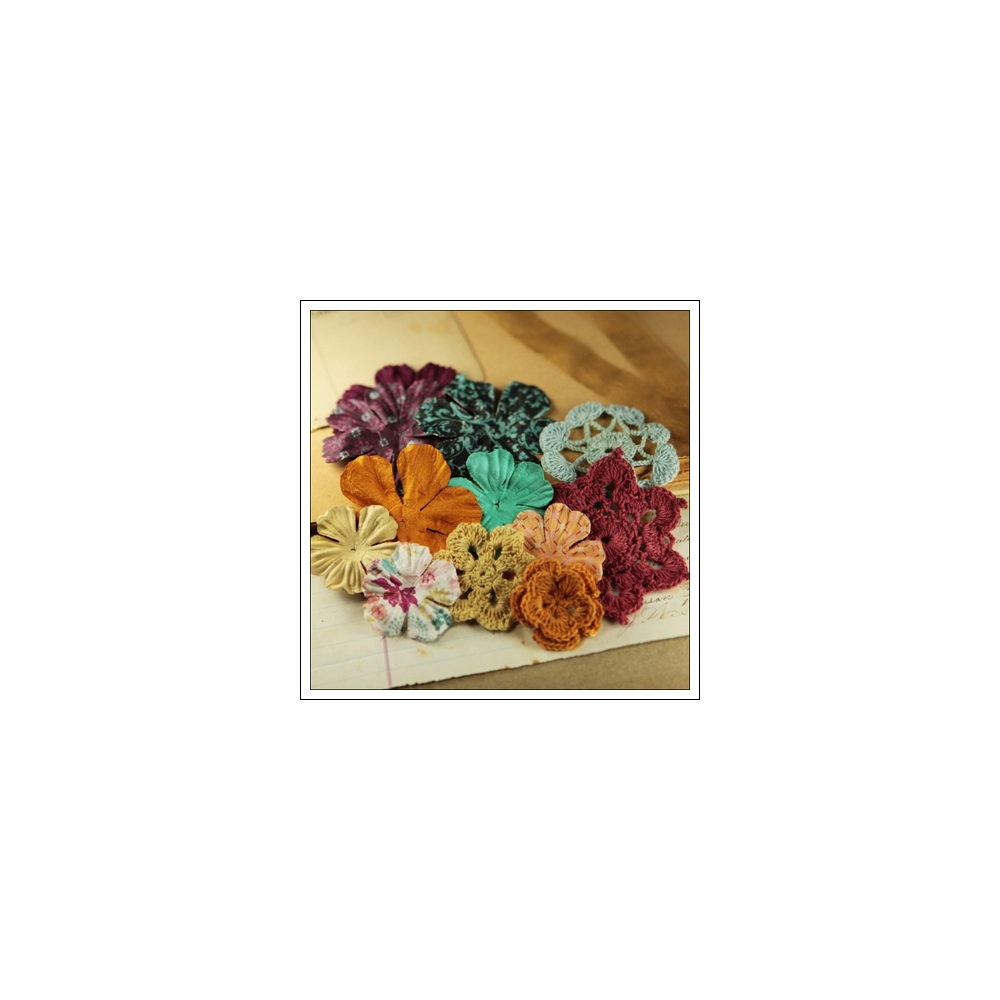 Prima Marketing Fabric and Mulberry Paper Flowers Melody Love Note Collection