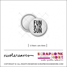 Scrapbook and More 0.75 inch Round Flair Badge Button White Fun in the Sun by Nicole Reaves