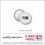 Scrapbook and More 0.75 inch Round Flair Badge Button White Yum by Nicole Reaves