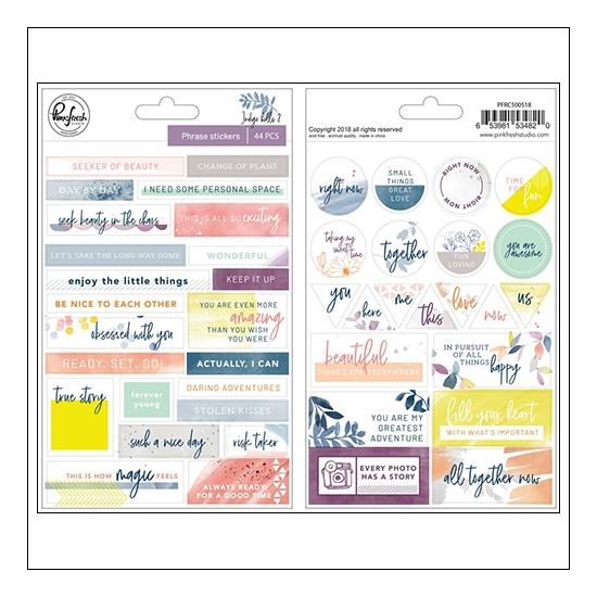 Pinkfresh Studio Phrase Stickers Indigo Hills 2 Collection